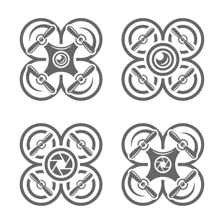 Set of four drones or quadrocopters with photo camera monochrome icons isolated on white background Illustration