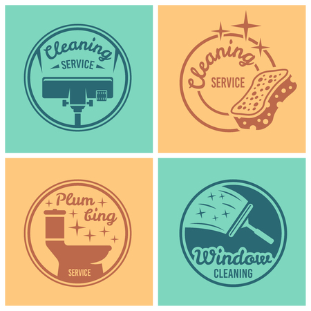 Cleaning service, plumbing service, window cleaning set of four vector round badges, labels, emblems on colored backgrounds Vetores