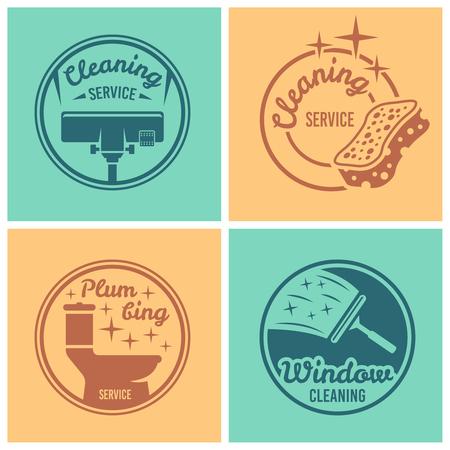 Reinigungsservice, Sanitärservice, Fensterreinigungsset mit vier runden Vektorabzeichen, Etiketten, Emblemen auf farbigem Hintergrund Vektorgrafik