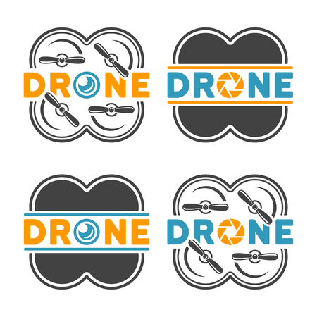 Set of four drones and quadrocopters with camera lens for aerial photography, colored design elements isolated on white background Stock Illustratie