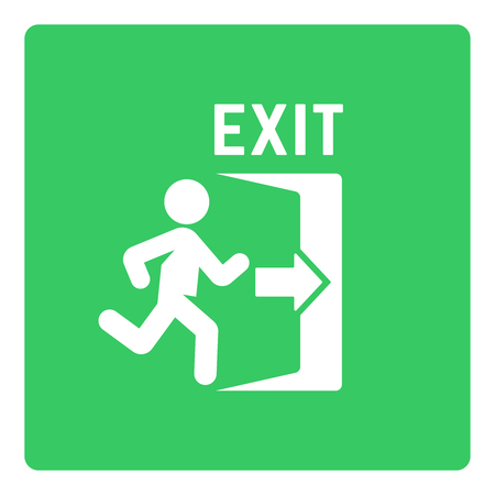 Emergency exit vector sign with man silhouette and open door on green background, exit green sticker close-up