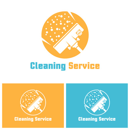 Cleaning service isolated vector logo template with sample text, vacuum cleaner head in circle, carpet cleaning logo