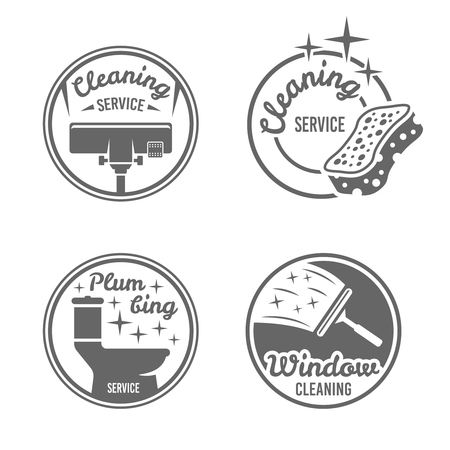 Cleaning service, plumbing service, window cleaning set of four monochrome vector round badges, labels, emblems isolated on white background