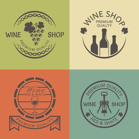 Wine shop set of vector vintage round colored labels, badges or emblems Illustration