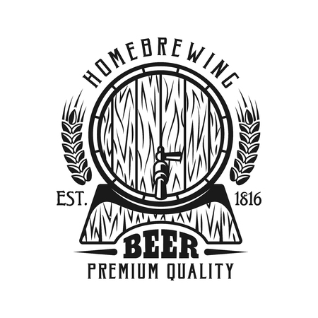 Beer emblem, label, badge or  monochrome vintage style with barrel isolated on white background Illustration
