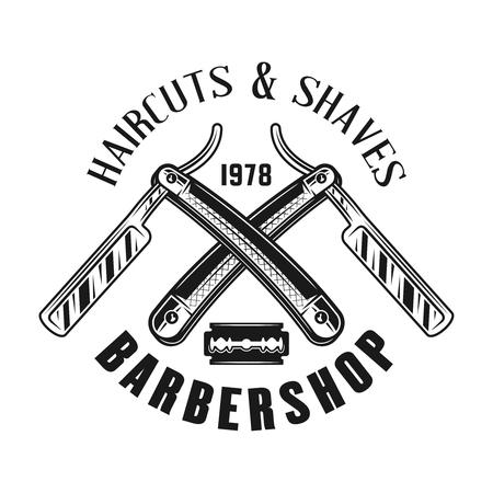 Emblème de salon de coiffure, étiquette, insigne ou logo dans un style vintage monochrome avec deux rasoirs droits croisés isolés sur fond blanc