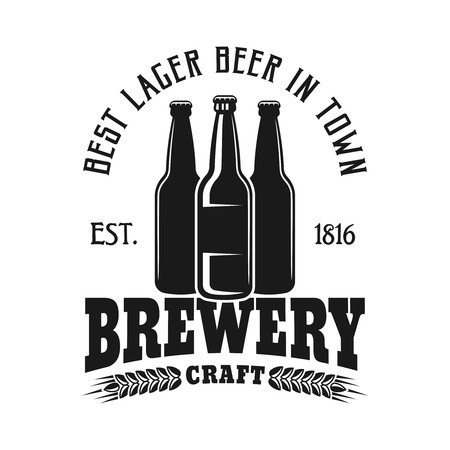 Brewery emblem, label, badge or logo in monochrome vintage style with three bottles isolated on white background