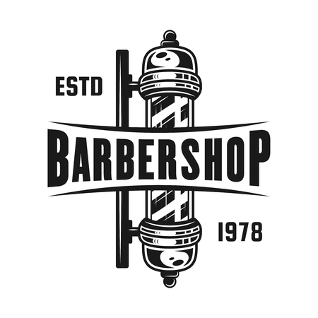 Barbershop pole emblem, label, badge or logo in monochrome vintage style isolated on white background