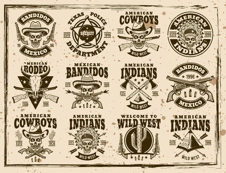 Western and wild west set of vector emblems, labels, badges or t shirt prints in vintage style on dirty background with stains and grunge textures 일러스트