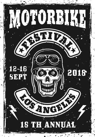 Motorbike festival vintage invitation poster with biker skull vector illustration 矢量图像