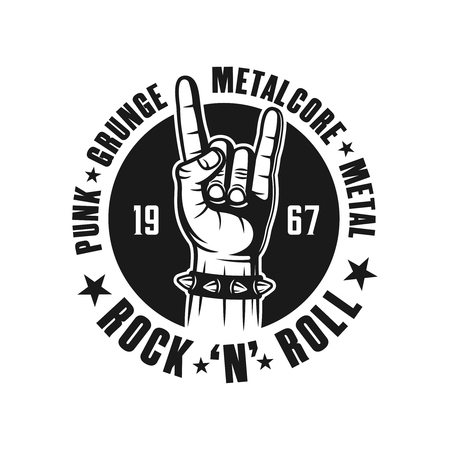 Rock n roll emblem, label, badge or logo in monochrome vintage style with hand gesture and names of musical genres isolated on white background Çizim