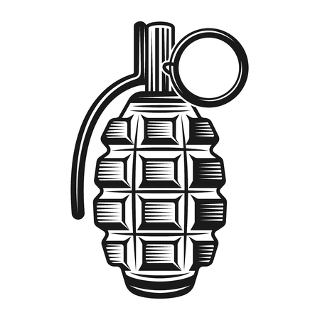 Grenade vector illustration in monochrome vintage style isolated on white background