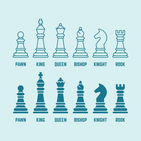 Chess pieces with named set of vector outline and silhouette icons king, queen, bishop, rook, knight, pawn