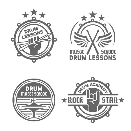Drum school or drum lessons set of four vector vintage monochrome labels, badges, emblems isolated on white background
