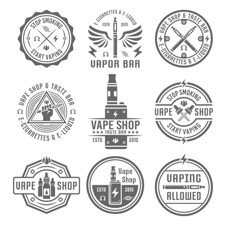 Vape shop and vapor bar, electronic cigarette and electronic liquid, set of vector monochrome labels, badges, emblems isolated on white background
