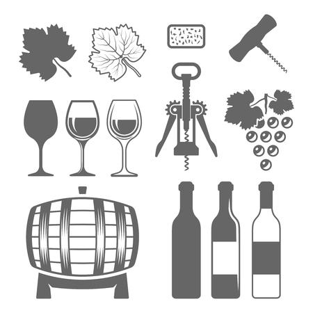 Conjunto de vino de elementos de diseño monocromo de vector y silueta, aislado sobre fondo blanco, copa de vino, botella de vino, uva, hoja de uva, sacacorchos, barril