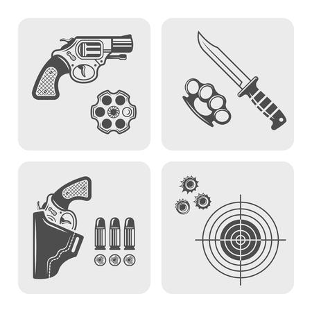 Armas y equipo de autodefensa, campo de tiro, íconos negros de la tienda de armas y elementos de diseño Ilustración de vector