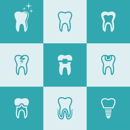 Tooth, teeth set of nine vector flat style colored icons, dental symbols Standard-Bild - 112237930