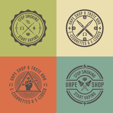 Vape shop and vapor bar, electronic cigarette and electronic liquid, set of vector labels, badges, emblems Illustration
