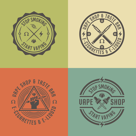 Vape shop and vapor bar, electronic cigarette and electronic liquid, set of vector labels, badges, emblems 向量圖像