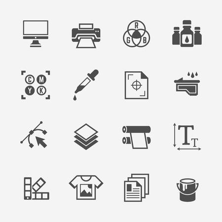 Servizio di stampa o set di stamperie di icone nere vettoriali isolate