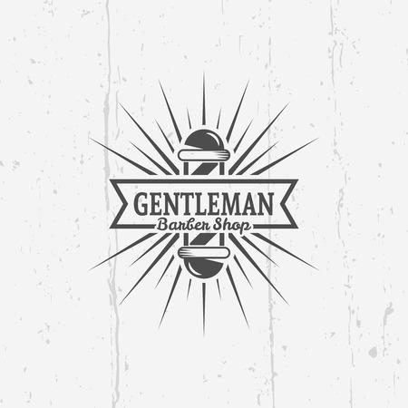 Gentleman barber shop vector vintage label, badge, or emblem on gray background with grunge texture