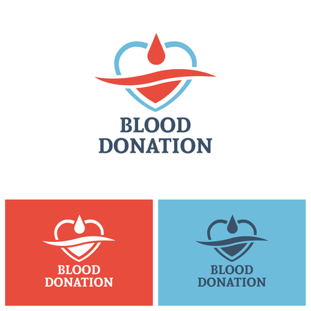 Blood donation vector logo design template, heart and drop blood concept design elements for donor foundation Illustration