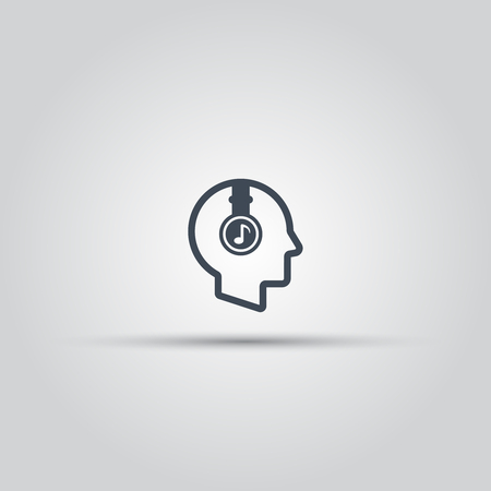 Human head with headphones isolated vector outline icon, musical profile icon Çizim
