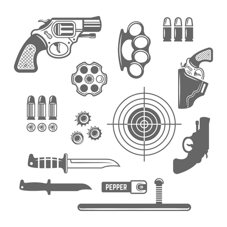 Gun shop, shooting club or range set of vector monochrome design elements isolated on white background, weapons, self defense equipment