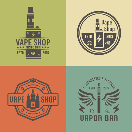 Vape shop and vapor bar, electronic cigarette and electronic liquid, set of vector labels, badges, emblems  イラスト・ベクター素材