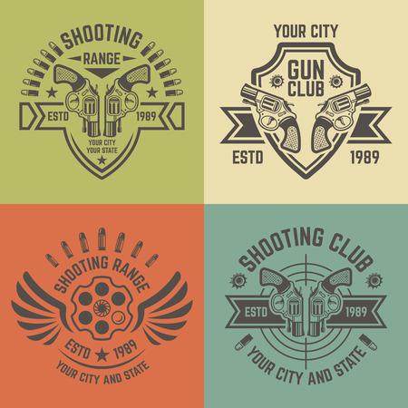 Shooting range or shooting club vector labels, badges, emblems in vintage style