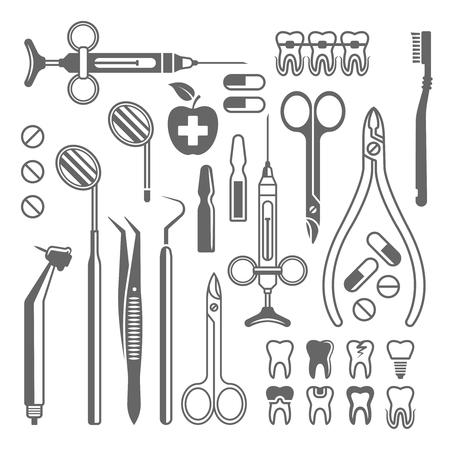Outils dentaires, équipement médical, ensemble d'instruments de dentiste d'icônes vectorielles noires, de silhouettes et d'éléments de conception isolés sur fond blanc