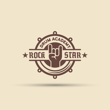 Drum school isolated vector round label, badge, emblem