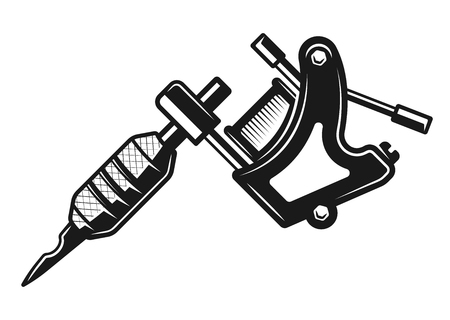 Tattoo machine vector monochrome illustration isolated on white background 写真素材 - 111903103