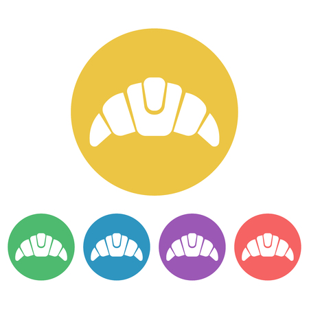 Croissant set of vector colored round icons