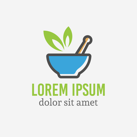 Pharmaceutical mortar and pestle with green leaf, pharmacy and alternative medicine isolated vector logo template with sample text