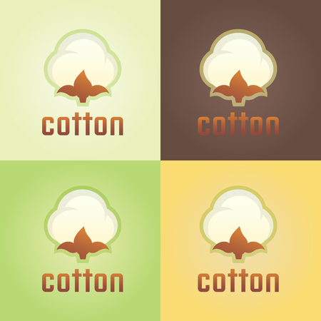 Cotton isolated vector logo template, cotton and wool clothes abstract floral logo