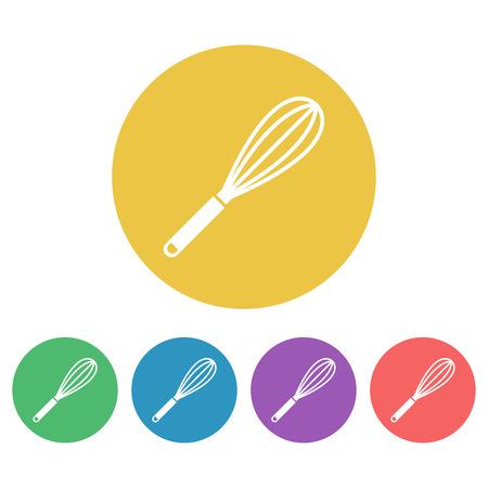 Egg whisk or beater set of vector colored round icons Vektorgrafik