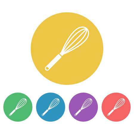 Egg whisk or beater set of vector colored round icons