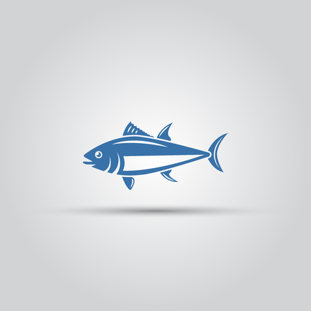 Fish icon isolated vector, bluefin fish icon, tuna icon, ocean fish icon Çizim