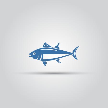 Vector aislado de icono de pescado, icono de pescado de aleta azul, icono de atún, icono de pescado de mar