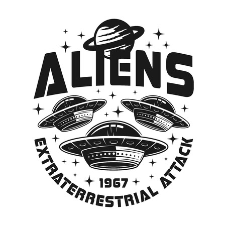 Emblema vectorial de ovnis o naves espaciales con texto ataque extraterrestre extraterrestres en estilo monocromo vintage aislado sobre fondo blanco