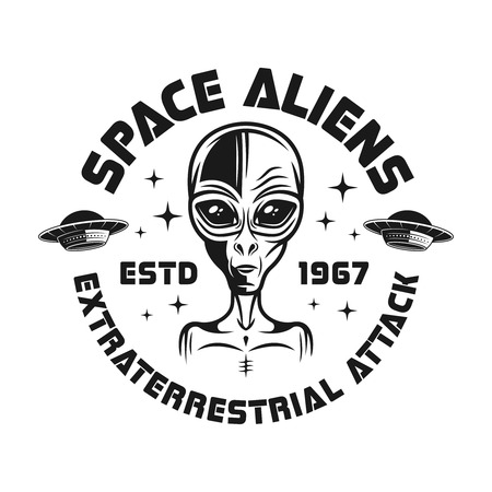 Space aliens vector emblem in vintage monochrome style isolated on white background