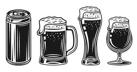 Bicchiere da birra, tazza e lattina insieme di oggetti vintage monocromatici vettoriali isolati su sfondo bianco Vettoriali