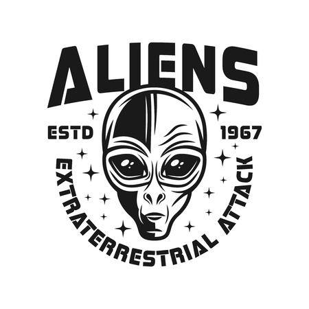 Alien head vector emblem in vintage monochrome style isolated on white background Vector Illustration