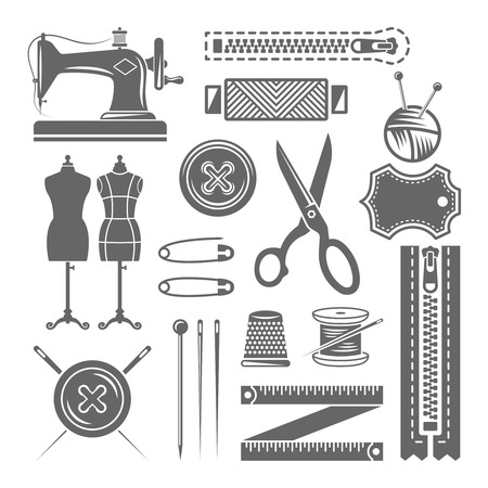 Sewing accessories, sewing supplies, tailor shop set of vector monochrome design elements isolated on white background