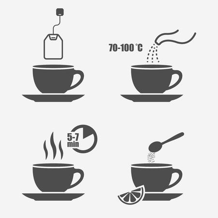 Istruzioni per la preparazione del tè elementi di design vettoriali isolati, istruzioni per la preparazione del tè in elementi manuali della borsa