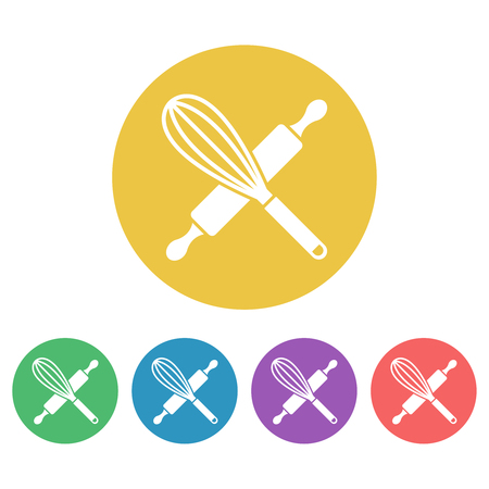 Kitchen tools set of vector colored round icons, egg whisk and rolling pin icon