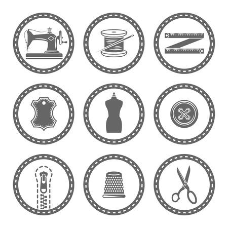 Zestaw akcesoriów krawieckich, materiały do szycia, okrągłe wektorowe czarne ikony na białym tle