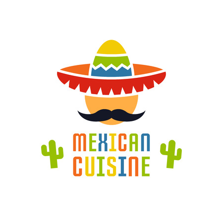 Mexican cuisine vector logo template isolated on white background, mexican food, face with mustache and sombrero cartoon flat style logo design element